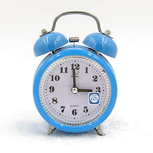 PSTBWYL Elektronischer Wecker, klingelnder Wecker, leuchtender leiser Metall-Wecker, Kindergeschenke, rundes Blau