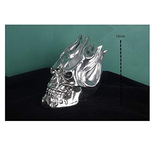 AJLNSL Scultura Locomotiva Creativa Cranio Elettrolitico Decorazioni Casa Club Bar Tattoo Locomotiva Decorazione Scultura Ornamentifiamma Statue