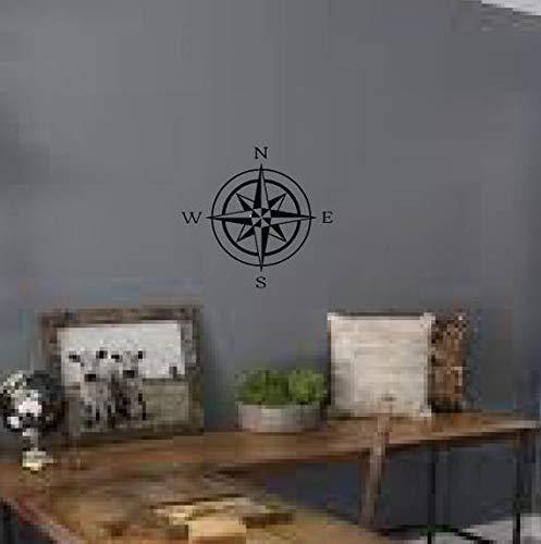 Celycasy Wandtattoo mit Kompass-Rose, Weiß, Vinyl-Aufkleber, Wandaufkleber, Kompass, Segeln, Home Office Decor #142