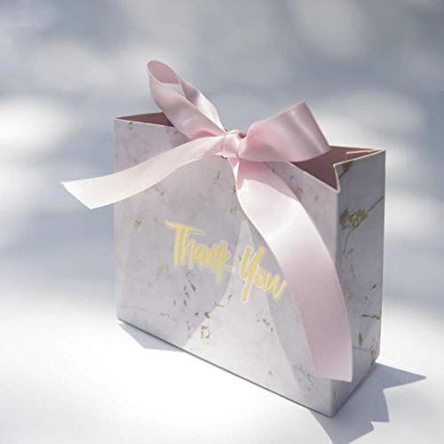 Xinger 10Pcs Marmer Gift Bag Wedding Candy Chocolade DozenKoekjes Tas Damestas Gift Bags Stuur lint, S-10X10X4.5CM