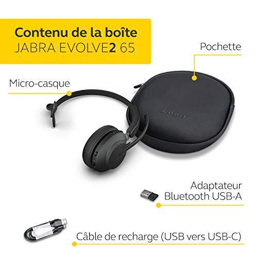 Jabra Evolve2 65 Casque PC sans Fil – Casque Mono Écouteurs Certifié UC avec Annulation du Bruit et Batterie Longue…