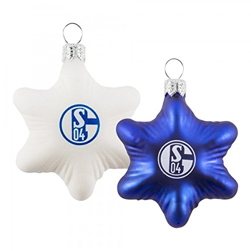 FC Schalke 04 2er Set Glas-Sterne Weihnachts-Kugeln Baum-Schmuck