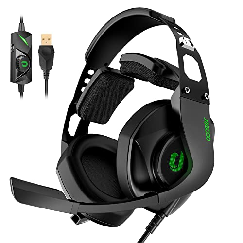 Jeecoo J65 USB Gaming Headset for PC - 7.1 Surround Sound Heavy Bass Headphones with Unique Cushion Pads, Clear and Crystal Microphone - Plug & Play for Laptop Computers