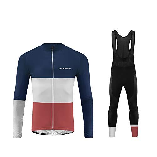 UGLY FROG Herren Radtrikot mit Fleecefutter Winddichte Warm Fahrradbekleidung Langarm MTB Fahrradjacke für Winter