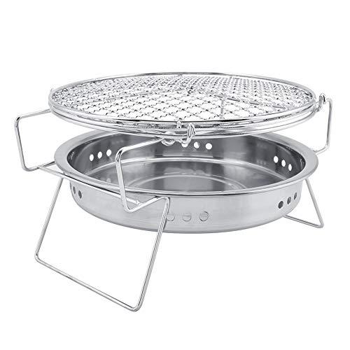 Delaman BBQ Grill Mini Barbecue in Acciaio Inox Pieghevole per Barbecue Tondo per Barbecue Portatile da Esterno