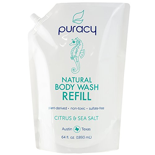 Puracy Natural Body Wash Refill, Citrus & Sea Salt, Bath & Shower Gel for Men and Women, 64 Ounce