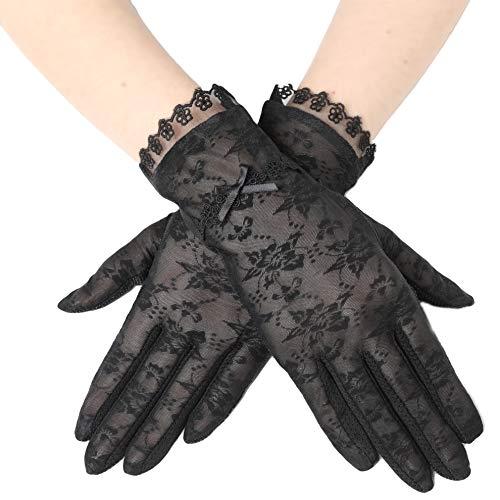 ArtiDeco Damen Lace Handschuhe Satin Braut Hochzeit Spitze Handschuhe Opera Fest Party Handschuhe 1920s Handschuhe Damen Kostüm Accessoires (Kurz Bogen Schwarz)