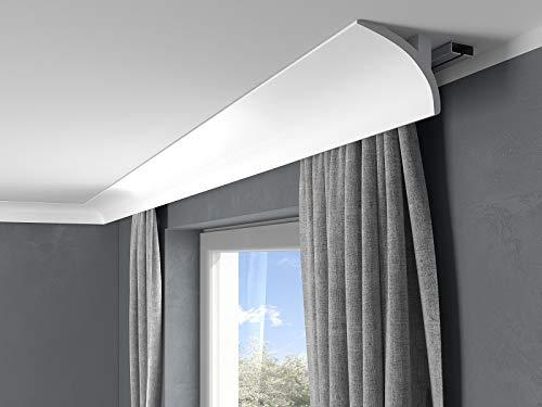 MARDOM DECOR I LightGuard® Gardinenleiste QL011 I Wandleiste I Deckenleiste I Lichtleiste für indirekte LED Beleuchtung I 200 x 13 x 9,1 cm