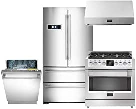 600 Series 4-Piece Stainless Steel Kitchen Package with FM36CDFDS1 36 French Door Refrigerator F6PDF366S1 36 Freestanding Dual Fuel Range F6DW24SS1 24 Fully Integrated Dishwasher and F6PH36S1 36 Professional Range Hood