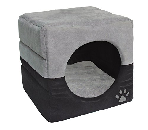 Dehner Katzen- und Hundehöhle Luca 2in1, ca. 40 x 40 x 40 cm, Polyester, grau