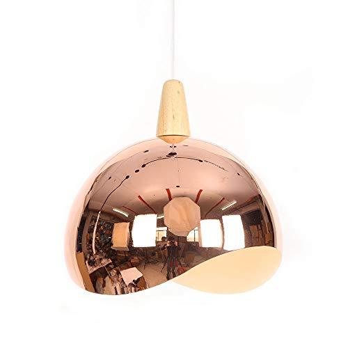 lumière pendante Couleur de cuivre Suspension salle à manger table à manger lampe pendentif rond métal ombre bois décoration Lampe suspendue, pour salle de séjour chambre à coucher restaurant, 1- E27