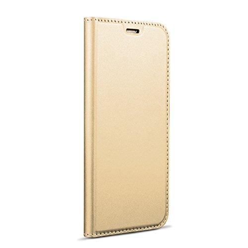 Funda® Ultra Delgado PU TPU Flip Folio Ranura y la Función Stand para Tarjeta para Xiaomi Mi Mix 2S(Oro)
