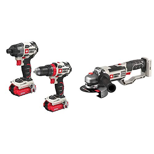 PORTER-CABLE 20V MAX Cordless Drill Combo Kit, Brushless, 2-Tool (PCCK619L2) & 20V MAX Angle Grinder Tool, 4-1/2-Inch, Tool Only (PCC761B)