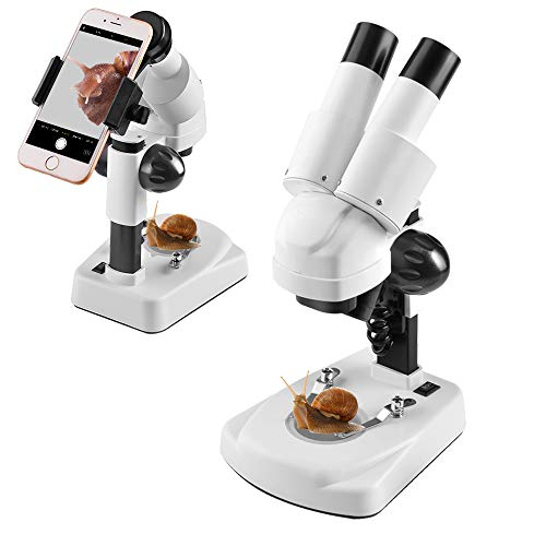 Student Kids Beginner Stereo Microscope Science Kit 20X-40X Compound LED Light Source Binoculars Lab Microscope with a Phone Adapter for Microscope to Record