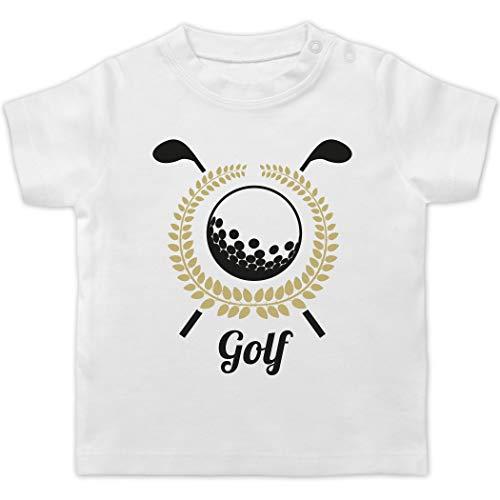 Sport Baby - Lorbeerkanz Golfschläger Golfball - 1/3 Monate - Weiß - Golfer - BZ02 - Baby T-Shirt Kurzarm