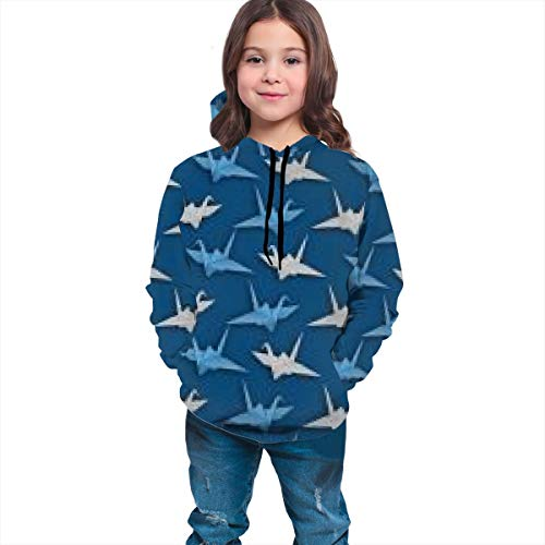 Slim Fit Pullover Hooded Sweatshirts for Teen Girls Boys, Japanese Origami Crane Hoodie with Kangaroo Pockets Funny Cool Streetwear for Hiking Exercise Sports
