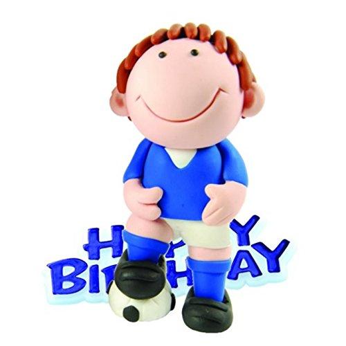 Anniversary House Blue Footballer Resin Cake Topper & Blue Happy Birthday Motto