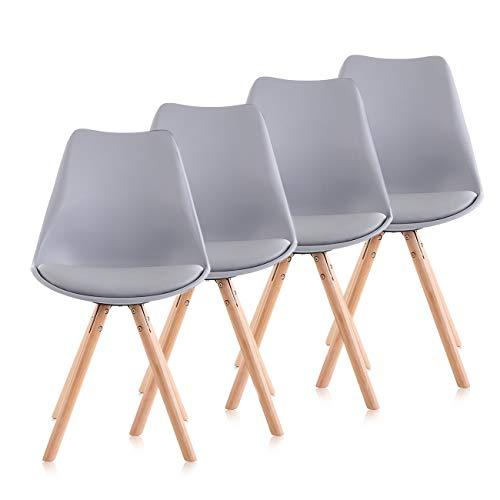 Makika Retro Stuhl Design Stuhl Esszimmerstühle Bürostuhl Wohnzimmerstühle Lounge Küchenstuhl Sitzgruppe 4er Set aus Kunststoff mit Rückenlehne MOOL in Grau