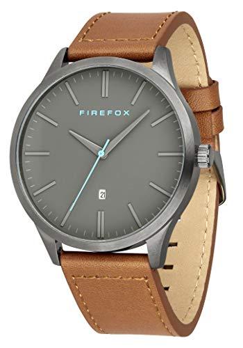FIREFOX Herren- Armbanduhr XCHANGE analog Quarz Edelstahl Titan-grau Lederarmband braun Zifferblatt grau Datumsanzeige 5 ATM wasserdicht FFPL01-120