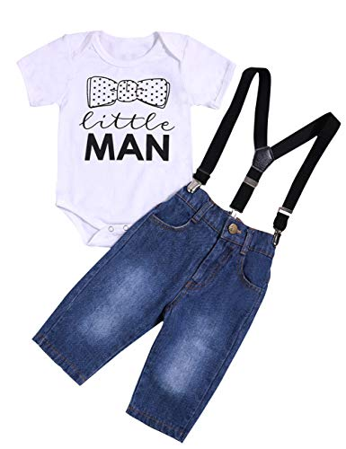 Newborn Baby Boy Clothes Little Man Romper Bodysuit+Suspenders Jeans Pants Outfit Set(12-18 Months)