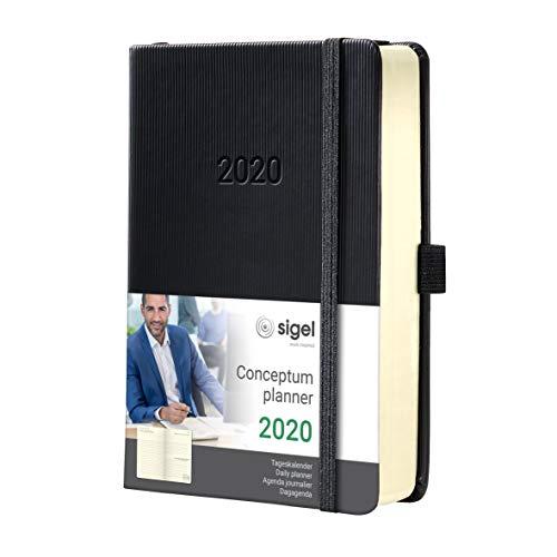 SIGEL C2010 Agenda diaria 2020 Conceptum, tapa dura, 14,8 x 21,3 cm, negro