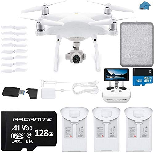 DJI Phantom 4 PRO Plus V2.0 Drone with 1-inch 20MP 4K Camera KIT with Built in Monitor, 3 Total DJI Batteries, 128gb Micro SD Card, Reader, Must Have Bundle