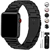 Fullmosa Compatible Apple Watch Band 42mm 44mm 38mm 40mm, Stainless Steel Metal For Apple Watch Bands, 42mm 44mm Black