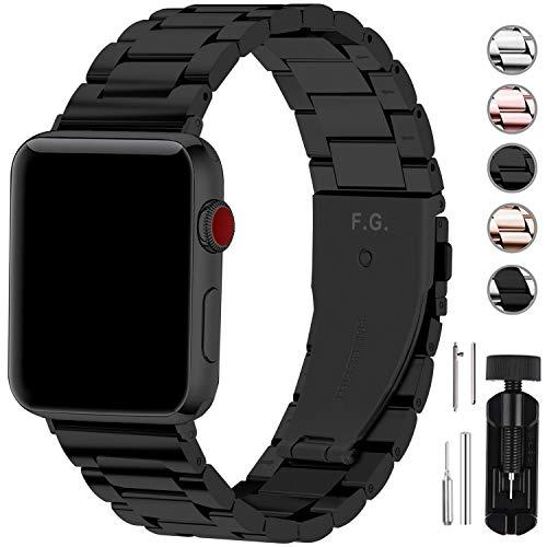 Apple Watch バンド42mm/44mm ステンレス, Fullmosa アップルウォッチバンド apple watch series5 4 3 2 1バンド iwatch交換バンド ブラック