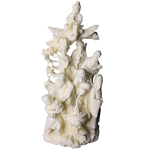 J.Mmiyi Chinese Statues and Figurines for Home Decor, Eight Immortals Crossing The Sea Sculpture Decoration, Home Office Crafts Ornaments,White