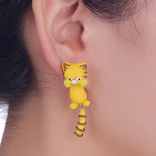 Haokaic Pendientes Hechos a Mano de Dibujos Animados Garfield Cat Stud Pendientes de Arcilla polimérica de Moda Lindos Pendientes de Animales 3D para Mujeres niñas(Amarillo)