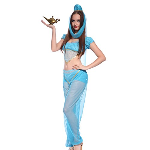 maboobie Ensemble Costume Tenue Deguisement Arab Aladdin Jasmin Princesse Nuit Danse Danseuse Ventre Voile Orientale S 30 32 M 34 46