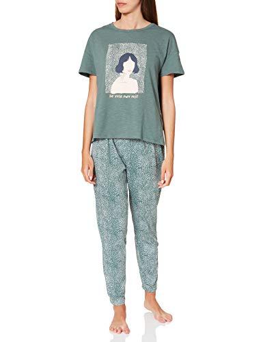 Women' Secret Short Sleeves Long Pant Pyjama Pijama, Verde, L para Mujer