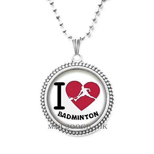 I Love Badminton Colgante hecho a mano de la foto de la joyería del regalo para el entrenador cumpleaños Presente Lass jewelry-MT383