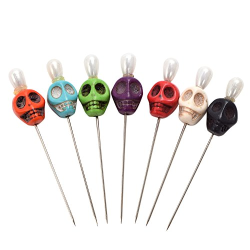 BLESSUME 7 Candle Magick Ritual Pins Skull Top
