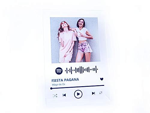 Oedim Placa Metacrilato Música Spotify Personalizado | Fabricado en Metacrilato 4mm | 19,5 x 28,2cm | Efecto Espejo | con Código de Spotify y con Apoyo