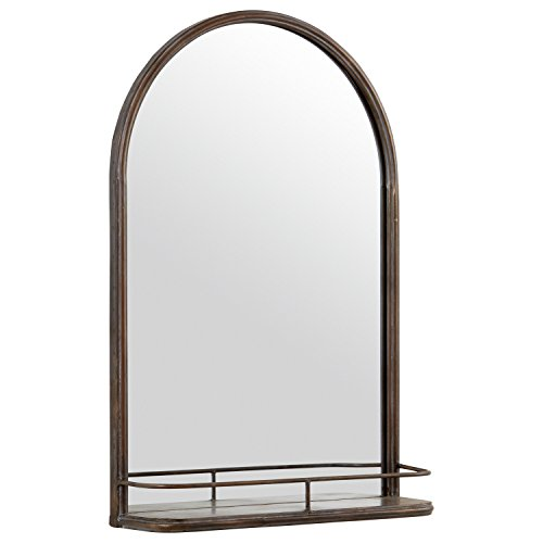 Amazon Brand – Stone & Beam Modern Round Arc Iron Hanging Wall Mirror With Shelf, 30 Inch Height, Dark Bronze