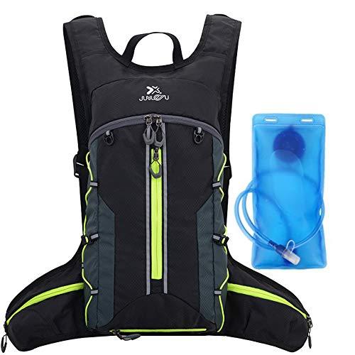 Croogo トレイルランバッグ 超軽量 ランニングバッグ サイクリングバッグ 自転車 バッグ バックパック リュック 光反射 通気 防水 ウォーキング ハイキング ジョギング アウトドア(G-BX02-ブラック/グリーン+SD1)