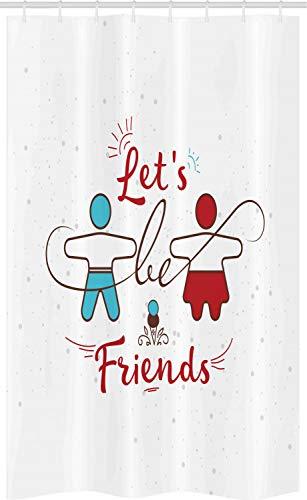 ABAKUHAUS Beste vriend Douchegordijn, Sweetest Aanbieding Buddies, voor Douchecabine Stoffen Badkamer Decoratie Set met Ophangringen, 120 x 180 cm, Deep Sky Blue Vermilion