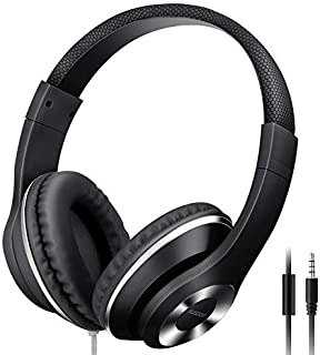 MAYERS AUSDOM Lightweight Over-Ear Wired HiFi Stereo Headphones with Built-in Mic Comfortable Leather Earphones- Black