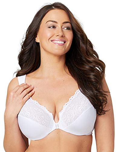 Glamorise Full Figure Plus Size Wonderwire Front Close Bra #1245 White