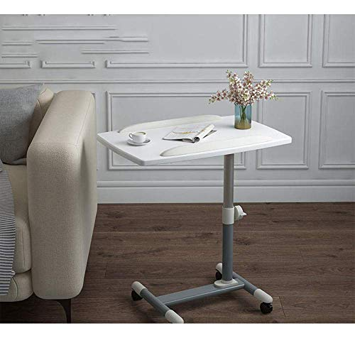 PIVFEDQX Steel Pipe Laptop Stand And Keyboard with White Density Board,Adjustable height, Lockable Casters,Bed Desk Table for breakfast in bed or dinner in front of the TV on the sofa