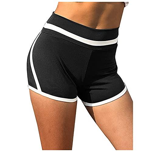 Pantalones Cortos Mujer de Fitness Color Liso Pantalón Corto Deporte Mujer Cintura Alta Shorts Deportivos Transpirable para Mujer Pantalones Mujer Verano Casual Ideal para Gym Yoga Pilates
