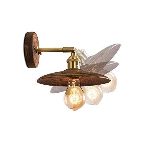 YXZQ Lámpara de Pared Retro nórdica de 180 Grados, Nogal con Interruptor, lámpara de Pared Decorativa para el hogar Multiusos, lámpara de Pared de latón Ajustable, Dormitorio, Sala de Estar, E27