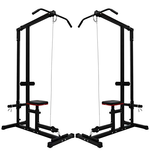 OLDM LAT Pull Down Machine, Home Gym Low Row Cable Machine Workout Equipment with High and Low Pulley Stations and Flip-Up Footplate for Pull Downs, Biceps Curl, Forearm, Shoulde, Arm Trainer (Black)