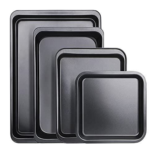 Baking Sheet Set of 4, Beasea Cookie Sheet Baking Pans Nonstick Carbon Steel Non Toxic Sheet Pan Set Easy Clean Baking Tray - Black