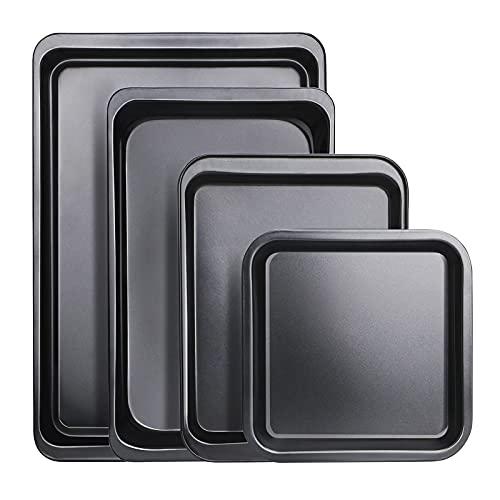 Baking Sheet Set of 4, Beasea Cookie Sheet for Baking Nonstick Set, Sheet Pan for Cooking Carbon Steel Easy Clean Baking Tray Set for Oven Baking - Black