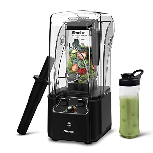 CRANDDI Blender, Quiet Shield Blender with 2200W Base, Professional High-Speed Countertop Blender, 80oz BPA-free Tritan Jar for Family/ Commercial Size Ice Crush, Smoothies and Shakes, 15-speeds Control  Florida