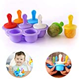 KETIEE Silicone Popsicle Mold, Kids Ice Cream Maker Lolly Mould, 7 Hole DIY Ice...