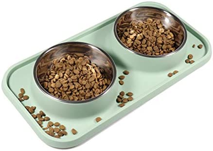 L D Dog Cat Bowls for Food and Water with Stand Cat Food Bowls Non Spill and Non Skid Removable product image