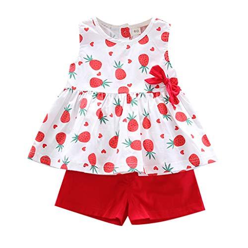 Baby Mädchen Kleidung Set Ananasdruck Oberteil Ärmellose T-Shirts Tops Einfarbig Shorts Infant Outfits, Rot-4, 18-24 Monate